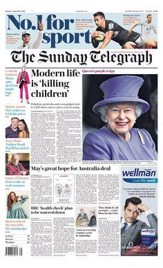 """Sunday Telegraph front page: Modern life is 'killing children' Bbc News Channel, Newspaper Headlines, Purple Reign, News Online, About Uk, Sunday, Children, Modern, September"