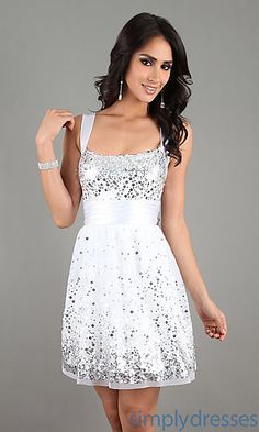 Short White Dress with Sequins at SimplyDresses.com