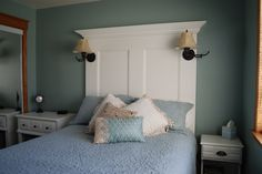 Pinterest projects we've finished.  Love the way the headboard turned out!