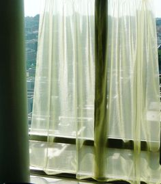 ☛SOLD at www.etsy.com/shop/paroliro to Vista, California ~ paroliro original design curtain panels; sheer, floaty and shimmery pale lemon yellow.  [*Click on image for full details, measurements and 4 more photo views.]☚