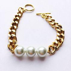 The Camille Gold Chain with Pearl Bracelet by PearlItUp on Etsy, $21.00
