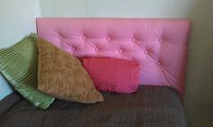 Pink diamond tufted twin headboard