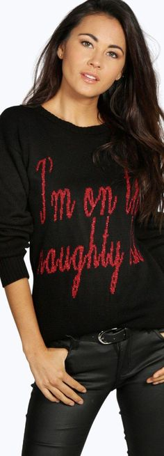 Cara I'm On The Naughty List Christmas Jumper -  - Street Style, Fashion Looks And Outfit Ideas For Spring And Summer 2017