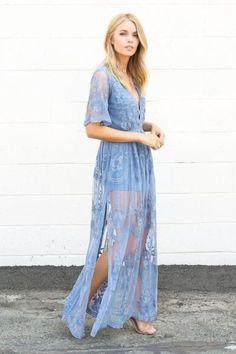 Dusty Blue Lace Maxi Romper