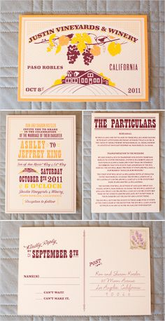 lovely invitation and program for a wedding at the Justin Vineyards & Winery