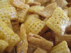 PKU friendly chex mix- sub raisins for almonds