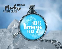 ANTIQUE SILVER  Circle pendant template by styledproductmockups