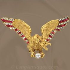 Diamond and Ruby Eagle Pin