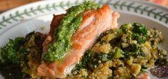 Pan-Seared Wild Salmon & Sunflower-Dill Pesto