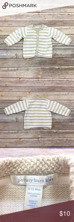 Pottery Barn Kids Cardigan Beige and white striped cardigan. Labeled Sz 6-12m. VGUC. 10820-209 Pottery Barn Kids Shirts & Tops Sweaters
