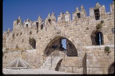 Jerusalem: Old City wall (from within), above Damascus Gate