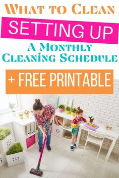Setting up a monthly cleaning schedule will allow you to know that your whole house is getting clean.  You'll know exactly what to clean each month. #monthlycleaning #cleanhome #cleaningschedule via @homebyjenn Monthly Cleaning Schedule, Cleaning Checklist, Cleaning Hacks, Chore Chart Kids, Chore Charts, Routine Printable, Raising Daughters, Toddler Schedule, Toddler Discipline