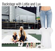 """Backstage with Lottie and Lux"" by daniellepeazer-187 ❤ liked on Polyvore featuring Tiger of Sweden, Topshop, adidas Originals, FingerPrint Jewellry, Yves Saint Laurent, women's clothing, women's fashion, women, female and woman"