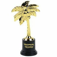 "Tropical Trophy (12 pieces) by Fun Express. $9.54. Each trophie 5"" tall and 1.5"" wide. Lightweight construction. N/A. Package of 12 trophies. Each tropjie individually wrapped in palstic. Give your Luau Guests Something Different! The tropical trophy is a great party favor for all your luau guests. No matter what the competition, surprise them with a luau trophy! 5"" tall and 1 1/2"" wide at base. Palm tree shaped trophy. ""Tropical Trophy"" written across base. Made of plas..."