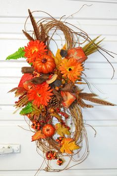 Fall Door Swag in Orange with Gourds by SimpleSouthernDesign, $45.00