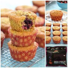 Easy oat and berry muffins recipe made with frozen fruit straight from the freezer - fab for breakfast snacks and lunch boxes - Eats Amazing UK
