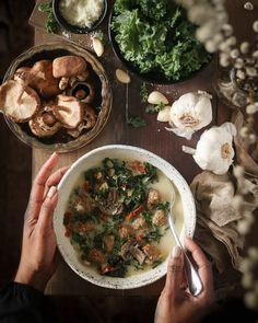 Creamy Tuscan Soup - Tuscan Soup, Soup For The Soul, Stuffed Mushrooms, Stuffed Peppers, Low Carb Sweets, Winter Soups, Dried Tomatoes, Sun Dried, Peaches