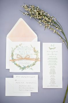 Watercolor Wedding Stationery | photography by http://www.seanmoney-elizabethfay.com