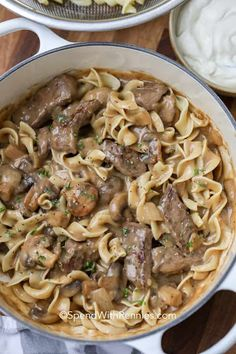 Easy Beef Stroganoff with Sirloin Steak Flour Seasoned Salt Pepper Olive Oil Butter Small Onion Mushrooms Garlic Beef Broth Dijon Mustard Worcestershire Sauce Thyme Sour Cream. Sirloin Tip Steak, Sirloin Steak Recipes, Steak Marinades, Steak Tips, Steak And Mushrooms, Stuffed Mushrooms, Creamed Mushrooms, Pasta Recipes, Beef Stroganoff