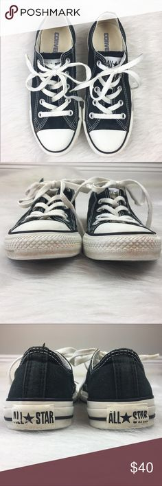Converse Classic Black All-Stars Converse classic black all star chucks. Size women's 6. Used condition. Has wear and some stains. As years of life yet! No sole issues or holes. Does not come with a box. ❌No trades ❌ Modeling ❌No PayPal or off Posh transactions ❤️ I 💕Bundles ❤️Reasonable Offers PLEASE ❤️ Converse Shoes Sneakers