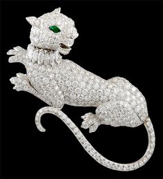 DAVID WEBB Diamond Emerald Panther Brooch