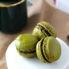 Matcha Dark Chocolate Macarons - I know not paleo but they are grain free...