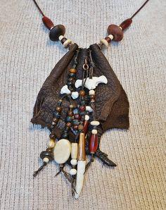 Tribal Bone Jewelry Statement Fetish Leather by aboriginalsbykate