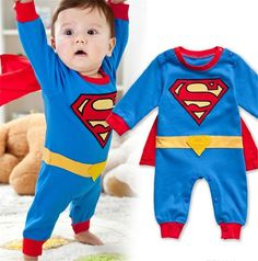 free shipping ! Superman rompers baby long sleeve bodysuit  character cotton costume autumn summer child unisex clothes $10.50 - 11.50