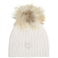 M. Miller Cashmere Pom Pom Beanie (7,550 MXN) ❤ liked on Polyvore featuring accessories, hats, beanies, cable hat, cable knit beanie, cable beanie, beanie hats and cashmere cable knit hat