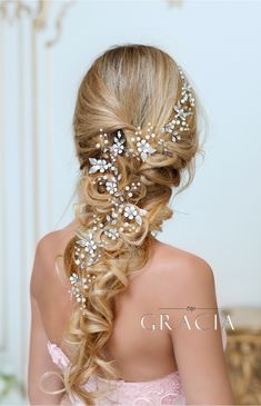 Dora flower long wedding hair accessories crystal bridal wire hair vine headpieces by topgracia topgraciawedding bridalhairvine flowerhairvine crystalhairvine perfect ash blonde long thick wavy hairstyles 2019 for girls and women to try this year Bridal Braids, Bridal Hair Vine, Headpiece Wedding, Bridal Headpieces, Hair Wedding, Bridal Updo, Wedding Band, Wedding Rings, Wedding Hairstyles For Long Hair