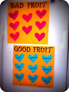 Fruit of the Spirit - they can fill out each one as they learn that fruit and its opposite