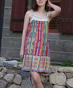 This Red & Green Crochet Shift Dress is perfect! #zulilyfinds