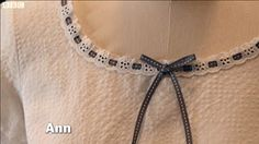 Great British Sewing Bee - Ann's exquisite neckline in episode two.  via Great British Sewing Bee Blog