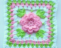 Instant Download Crochet PDF pattern - Flower in granny square