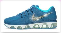 Over Discount Off Popular 2017 Fashion glitter kicks Nike Air Max Tailwind Crystallized  Swarovski Swoosh Blue