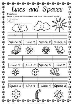 Read Music This set of 20 spring themed worksheets is designed to help your students practice identifying whether a pitch is on a line or in a space and practice high/low pitches. All activities require no preparation. Music Lessons For Kids, Music For Kids, Music Theory Worksheets, Therapy Worksheets, Space Music, Piano Teaching, Music Activities, Elementary Music, Music Classroom