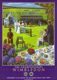 Cartel Wimbledon 1999 Wimbledon London, Wimbledon Tennis, Tennis Posters, Tennis Lessons, Davis Cup, Vintage Tennis, Lawn Tennis, Tennis Clubs, The Championship