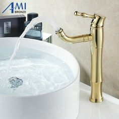 76.50$  Watch here - http://alicl2.worldwells.pw/go.php?t=32268384907 - Higher 360 Swivel Spout Golden Polished  Bathroom Basin Faucets Mixer Tap Brass Faucet