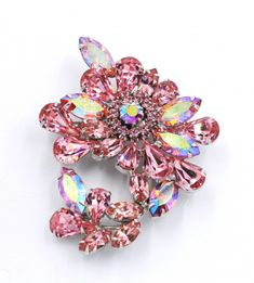 Vintage Weiss Pink AB Crystal Floral Rhodium Plated Brooch Pin - May 25 2019 at Rhinestone Jewelry, Vintage Rhinestone, Gemstone Jewelry, Vintage Brooches, Jewelry Necklaces, Victorian Jewelry, Antique Jewelry, Vintage Jewelry, Plastic Jewelry