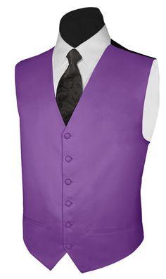 Tuxedo Vest PLUM SATIN Vest and PAISLEY NECKTIE Polyester Satin