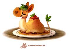 Daily Paint Camamel Custard by Piper Thibodeau on ArtStation. Cute Food Drawings, Cute Animal Drawings, Kawaii Drawings, Cartoon Art, Cute Cartoon, Anime Animals, Cute Animals, Animal Puns, Animal Food