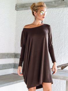 Vestido asimétrico  blusa  túnica de Brown / talla grande