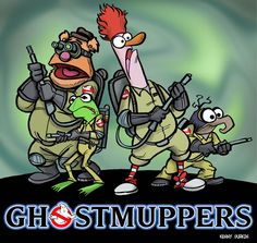 The Muppets and ghost busters Mash Up Artwork cartoon crossover