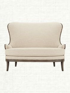 Welcome aboard the Portsmouth. If you like your deconstructed pieces a little less deconstructed, you'll love our Portsmouth Settee. Available at Arhaus. Fabrics made in the USA Furniture Making, Cool Furniture, Living Room Furniture, Comfy Sofa, Upholstered Sofa, Decoration, Dining Tables, Dining Area, Dining Room