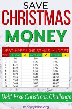 Here is your Christmas savings plan. Finally, have a debt free holiday season. Start in August or September with this weekly challenge. Get your free printable. This money challenge will give the best presents. Christmas Savings Plan, Holiday Money, Holiday Stress, Christmas On A Budget, Christmas Holiday, Christmas Ideas, Best Money Saving Tips, Ways To Save Money, How To Get Money