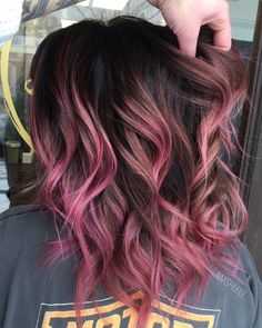 hair, hair colour, multi-colored hair, pink hair, purple hair, pink, purple #mocha #glam #girly