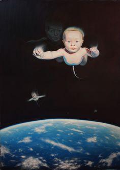 Aglomeracion de conciencia y atomos en el espacio-oleo s/lienzo-Matias Roig