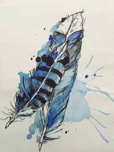 Watercolour and fine liner feathers in the style of Abby Diamond