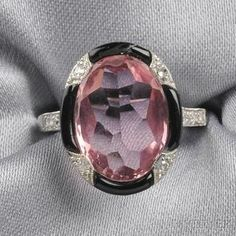 Art Deco Platinum, Pink Tourmaline, Onyx, and Diamond Ring