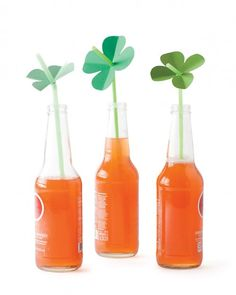 Shamrock Straw Toppers-- As a nod to Saint Patrick's Day, let your kids create their own luck with four-leaf-clover straw toppers. Shamrocks fashioned from green card stock make for an instantly festive table.